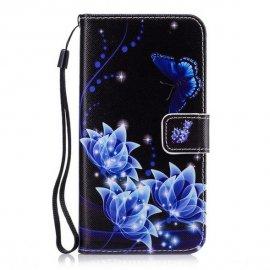 Funda Libro Samsung Galaxy A5 2018 Flores Azules