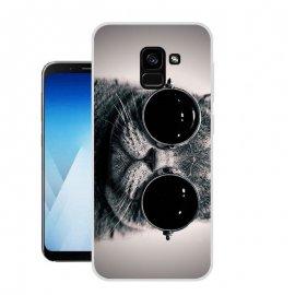 Funda Samsung Galaxy A8 2018 Gel Dibujo Gato con Gafas