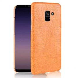 Carcasa Samsung Galaxy A8 2018 Cuero Estilo Croco Naranja