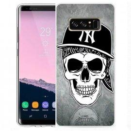 Funda Samsung Galaxy Note 8 Gel Dibujo Calavera Yankee NY
