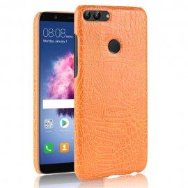 Carcasa Huawei P Smart Cuero Estilo Croco Naranja
