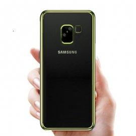 Funda Gel Samsung Galaxy A8 2018 con bordes Dorados