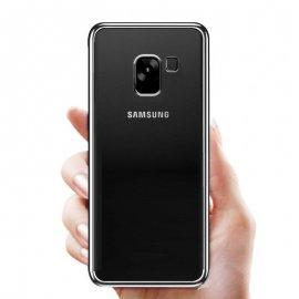 Funda Gel Samsung Galaxy A8 2018 con Borde Gris