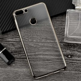Funda Huawei P Smart Gel Transparente con bordes Plateados