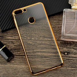Funda Huawei P Smart Gel Transparente con bordes Dorados