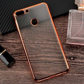 Funda Huawei P Smart Gel Transparente con bordes Oro Rosa