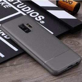 Funda Samsung Galaxy S9 TPU Fibra Carbono Gris