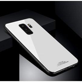 Funda Samsung Galaxy S9 Plus Silicone con trasera Cristal Templado Blanca