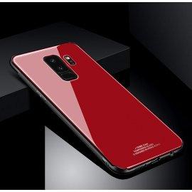 Funda Samsung Galaxy S9 Plus Silicone con trasera Cristal Templado Rojo