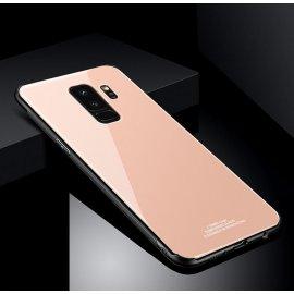 Funda Samsung Galaxy S9 Plus Silicone con trasera Cristal Templado Dorada