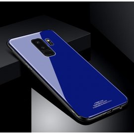 Funda Samsung Galaxy S9 Plus Silicone con trasera Cristal Templado Azul