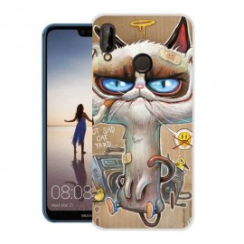 Funda Huawei P20 Lite Gel Dibujo Gato Feo
