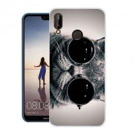 Funda Huawei P20 Lite Gel Dibujo Gato con Gafas