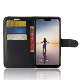 Funda cuero Flip Huawei P20 Lite Negra