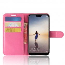 Funda cuero Flip Huawei P20 Lite Fucsia