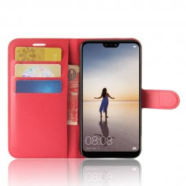 Funda cuero Flip Huawei P20 Lite Roja