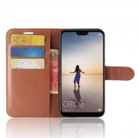 Funda cuero Flip Huawei P20 Lite Marron