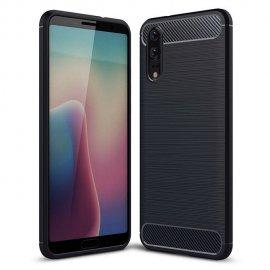 Funda Huawei P20 Gel Hybrida Cepillada Negra