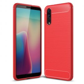 Funda Huawei P20 Gel Hybrida Cepillada Roja