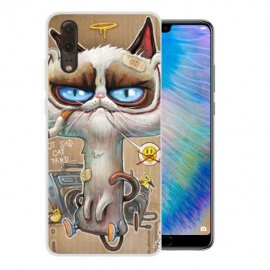 Funda Huawei P20 Gel Dibujo Gato Feo