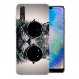 Funda Huawei P20 Gel Dibujo Gato con Gafas