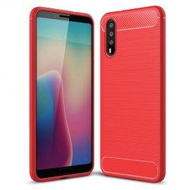 Funda Huawei P20 Pro Gel Hybrida Cepillada Roja
