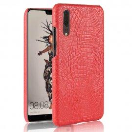 Carcasa Huawei P20 Cuero Estilo Croco Roja