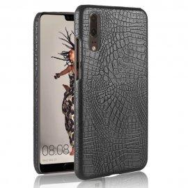 Carcasa Huawei P20 Cuero Estilo Croco Negra