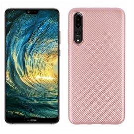 Funda Huawei P20 Pro TPU Fibra Carbono Rosa