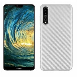 Funda Huawei P20 Pro TPU Fibra Carbono Blanca