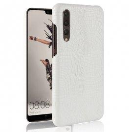 Carcasa Huawei P20 Pro Cuero Estilo Croco Blanca
