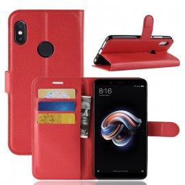 Funda Libro Xiaomi Redmi Note 5 Pro Soporte Roja