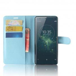 Funda cuero Flip Sony Xperia XZ2 Azul