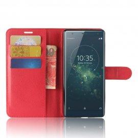 Funda cuero Flip Sony Xperia XZ2 Roja