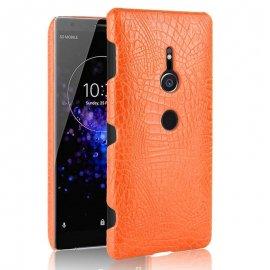 Carcasa Sony Xperia XZ2 Cuero Estilo Croco Naranja