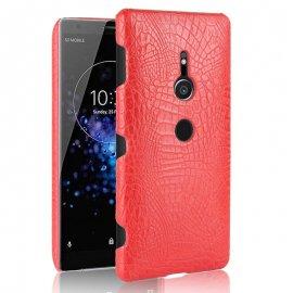 Carcasa Sony Xperia XZ2 Cuero Estilo Croco Roja