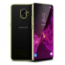 Funda Gel Galaxy S9 con Esquinas Cromados Dorada