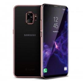 Funda Gel Galaxy S9 con Esquinas Cromados Rosa
