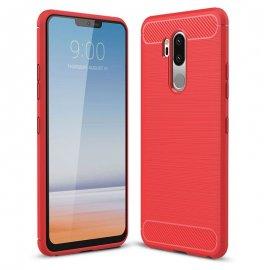 Funda LG G7 Gel Hybrida Cepillada Roja