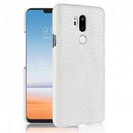 Carcasa LG G7 Cuero Estilo Croco Blanca