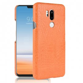 Carcasa LG G7 Cuero Estilo Croco Naranja