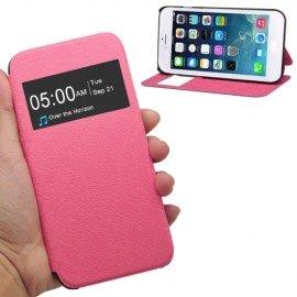 Funda cuero Flip Iphone 6 Soporte Rosa