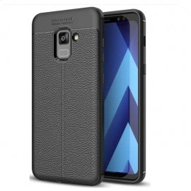 Funda Galaxy A8 Plus 2018 Gel Cuero 3D Negra