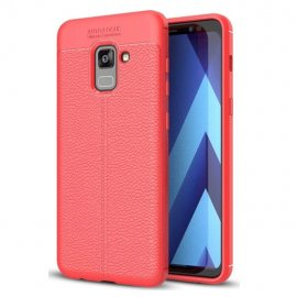 Funda Galaxy A8 Plus 2018 Gel Cuero 3D Roja
