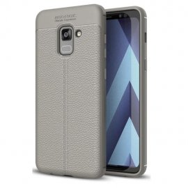 Funda Galaxy A8 Plus 2018 Gel Cuero 3D Gris