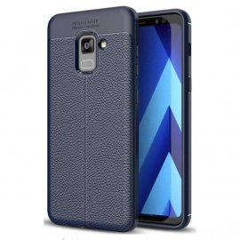 Funda Galaxy A8 Plus 2018 Gel Cuero 3D Azul