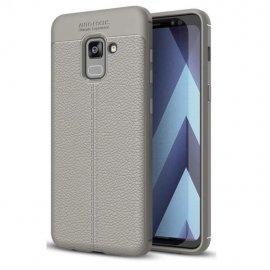 Funda Galaxy A8 2018 Gel Cuero 3D Gris