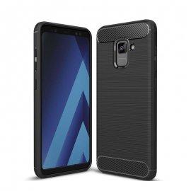 Funda Samsung Galaxy A8 Plus 2018 Gel Hybrida Cepillada Negra