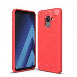 Funda Samsung Galaxy A8 Plus 2018 Gel Hybrida Cepillada Roja