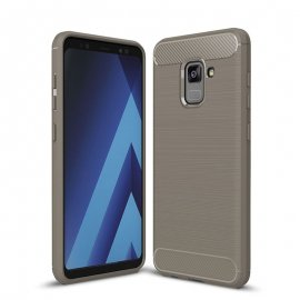 Funda Samsung Galaxy A8 Plus 2018 Gel Hybrida Cepillada Gris